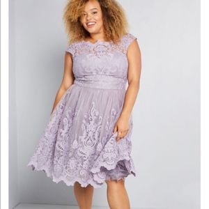 Chi Chi London Exquisite Elegance Lilac Lace Dress